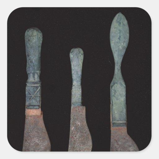 Tres cuchillos de Pompeya, romano, ANUNCIO de Pegatina Cuadrada