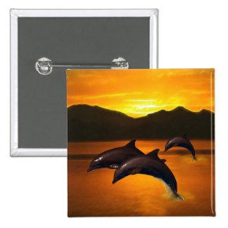 Tres delfínes en la puesta del sol pin