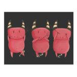 Tres diablos sabios - pequeño arte de los diablos tarjeta postal