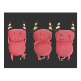 Tres diablos sabios - pequeño arte de los diablos postal