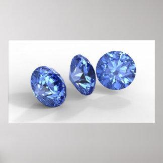 Tres diamantes azules posters