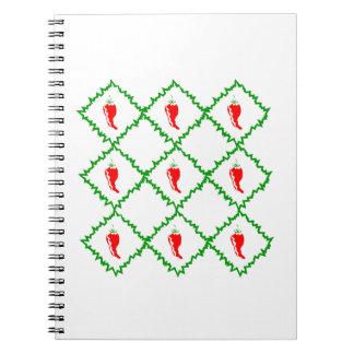 Tres diamantes blancos de las pimientas de chile g libros de apuntes