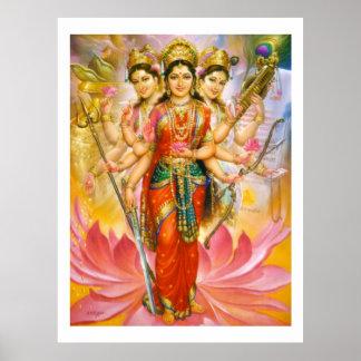 Tres diosas hindúes póster