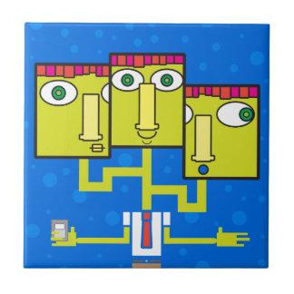 Tres dirigieron al hombre de negocios azulejo cuadrado pequeño