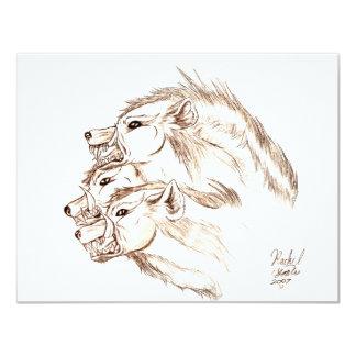 Tres dirigieron el Hyena Invitación 10,8 X 13,9 Cm