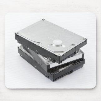 Tres discos duros apilados alfombrilla de ratones
