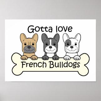 Tres dogos franceses póster