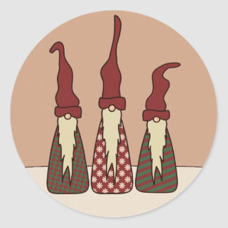 Tres duendes sabios, pegatinas etiquetas redondas