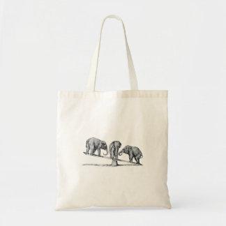 Tres elefantes en un arte del animal del vintage d bolsa tela barata