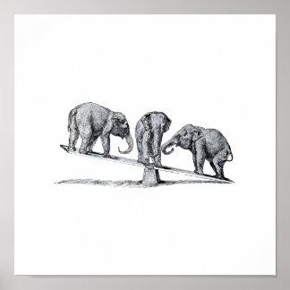Tres elefantes en un arte del animal del vintage d póster