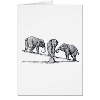 Tres elefantes en un arte del animal del vintage d tarjeta de felicitación