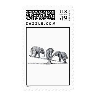 Tres elefantes en un arte del animal del vintage timbre postal