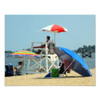 Tres en la impresión de la foto de la playa cojinete
