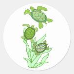 Tres en pegatinas de la fila de una tortuga de mar etiqueta redonda