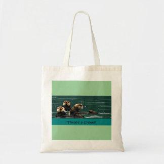 Tres es un totebag lindo de la nutria de mar de la bolsa tela barata