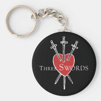Tres espadas llavero redondo tipo pin