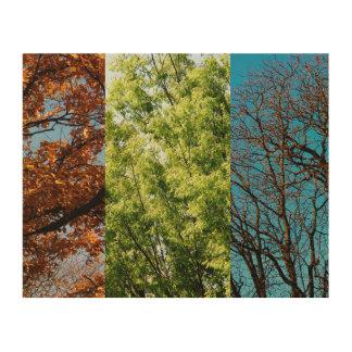 Tres estaciones impresiones en madera