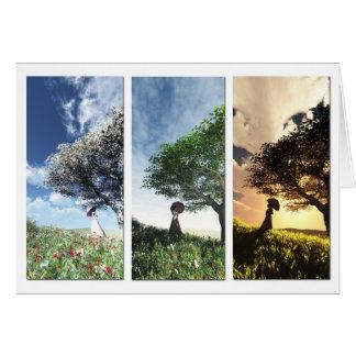 Tres estaciones tarjeta de felicitación