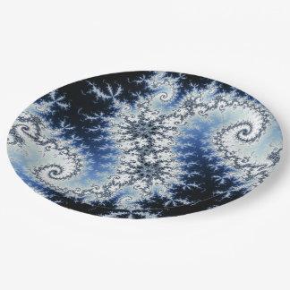 Tres estrellas azules - diseño del fractal plato de papel de 9 pulgadas