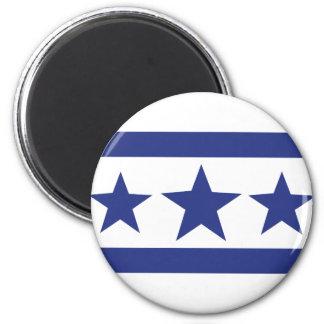 tres estrellas azules imán redondo 5 cm