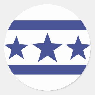 tres estrellas azules pegatina redonda