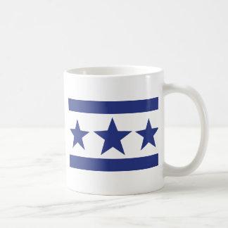 tres estrellas azules taza básica blanca