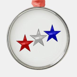 Tres estrellas brillantes ornamento de navidad