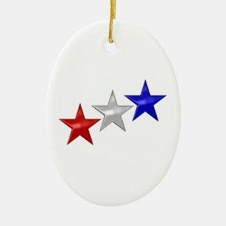 Tres estrellas brillantes ornamento para arbol de navidad