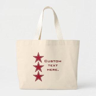 Tres estrellas rojas bolsa de mano