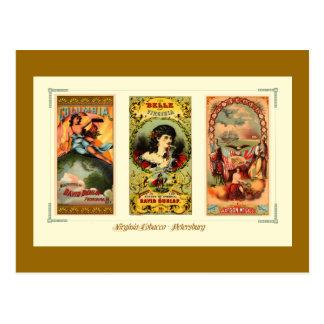 Tres etiquetas Virginia del cigarro del vintage Tarjeta Postal