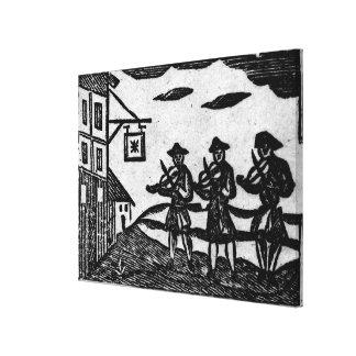 Tres Fiddlers, 'de baladas de Roxburghe del libro Impresión En Lona
