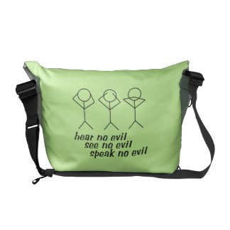 Tres figuras sabias del palillo - fondo verde bolsas de mensajería
