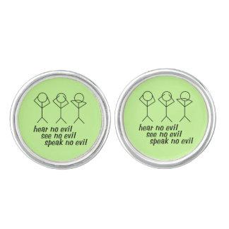 Tres figuras sabias del palillo - fondo verde gemelos