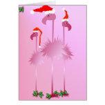 Tres flamencos rosados del navidad tarjeta