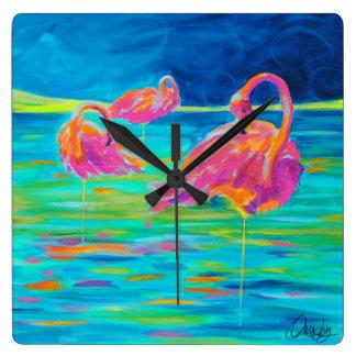 Tres Flamingos wall clock