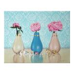 Tres floreros representación de lienzo