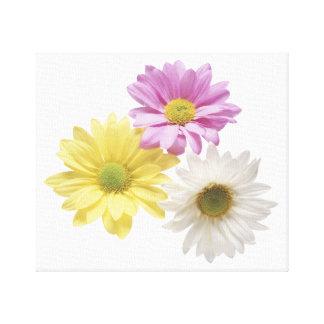 Tres flores impresión en lienzo