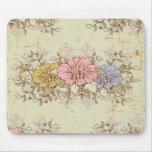 Tres flores, país del vintage floral tapete de raton