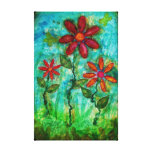 Tres flores por arte de las técnicas mixtas de Sau Lona Estirada Galerias
