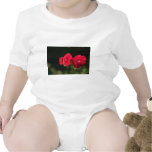 Tres flores rojas traje de bebé