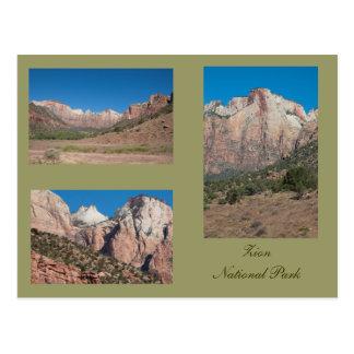 Tres fotos de parque nacional de Zion Postales