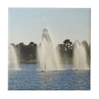 tres foutains en un agua del bonito del lago de la azulejos ceramicos