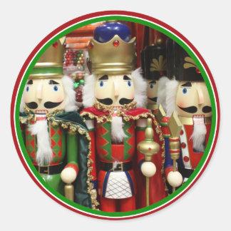 Tres galletas sabias - soldados del cascanueces pegatina redonda