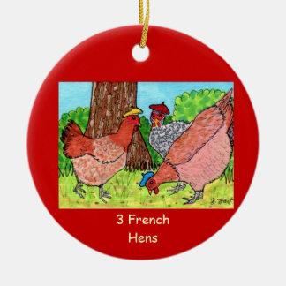 Tres gallinas francesas adorno navideño redondo de cerámica