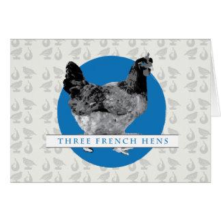 Tres gallinas francesas tarjeta de felicitación
