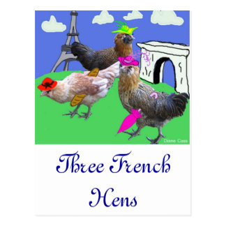 Tres gallinas francesas postales