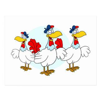 Tres gallinas francesas tarjeta postal