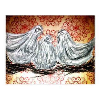 Tres gallinas francesas postal