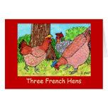 Tres gallinas francesas tarjeton