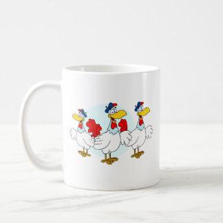 Tres gallinas francesas tazas de café